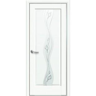 """Дверное полотно """"Маэстра Р"""" V (Волна) Premium со стеклом сатин и рисунком Р2"""