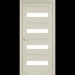 Дверное полотно Porto Deluxe PD-02 Korfad стекло сатин белый + алюминий
