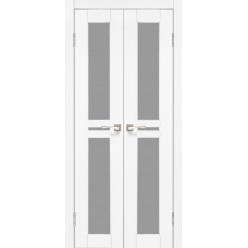 Двустворчатые дверные полотна Milano ML-09.1 Korfad стекло сатин белый