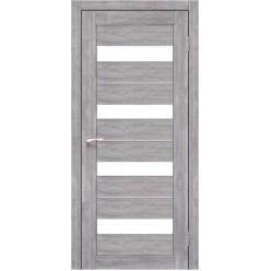 Дверное полотно Porto Deluxe PD-02.1 Korfad стекло сатин белый + алюминий