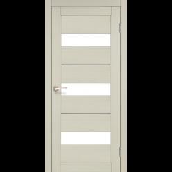 Дверное полотно Porto Deluxe PD-12 Korfad стекло сатин белый + алюминий