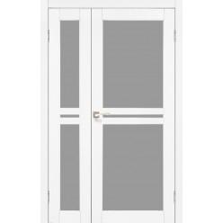 Двустворчатые дверные полотна Milano ML-06.1 Korfad стекло сатин белый