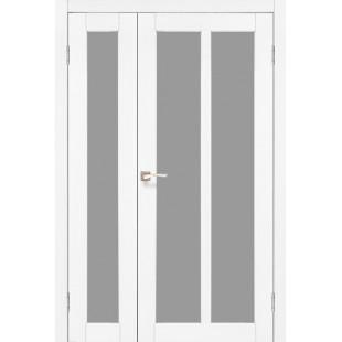 Полуторные дверные полотна Torino TR-04.1 Korfad стекло сатин белый