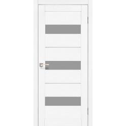 Дверное полотно Porto Deluxe PD-12.1 Korfad стекло сатин белый + алюминий
