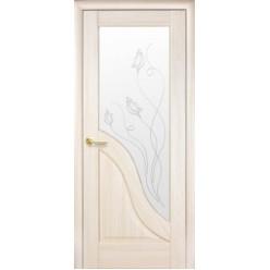 """Дверное полотно """"Маэстра Р"""" Амата со стеклом сатин и рисунком Р1"""