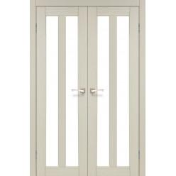 Двустворчатые дверные полотна Torino TR-05 Korfad стекло сатин белый