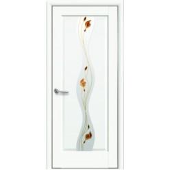 """Дверное полотно """"Маэстра Р"""" V (Волна) Premium со стеклом сатин и рисунком Р1"""