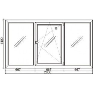 Стандартное трехстворчатое пластиковое окно Rehau 70