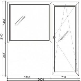 Стандартный балконный пластиковый блок Rehau 70