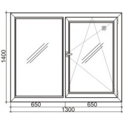 Стандартное двухстворчатое пластиковое окно Rehau 60