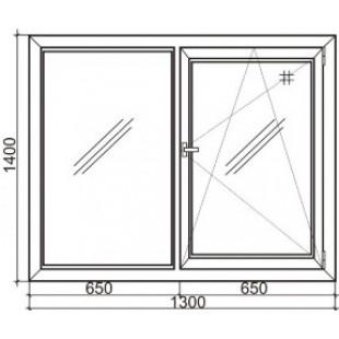 Стандартное двустворчатое пластиковое окно Rehau 60