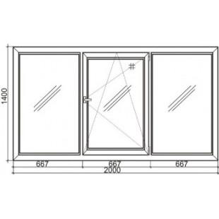Стандартное трехстворчатое пластиковое окно Rehau 60