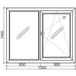 Стандартное двухстворчатое пластиковое окно Steko S 300