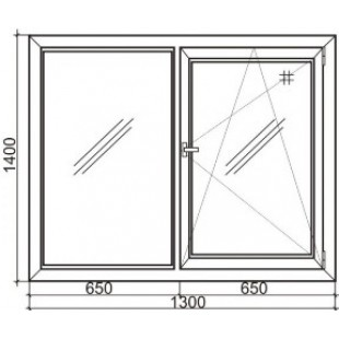 Стандартное двустворчатое пластиковое окно Steko S 300