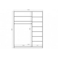 """Шкаф-Купе """"Світ Меблів"""" Зета корпус длиной 1.6 м. (0.6)"""