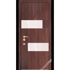 Дверь входная металлическая Стиль-Glass орех темный